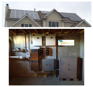 solar panels on the roof and installed equipment boxes in the basement